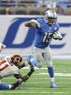 Redskins vs. Lions;   -   October 23, 2016  -  20-17, Lions  -     Lions receiver Golden Tate runs by the Washington Redskins' Will Blackmon during the first half Sunday, Oct. 23, 2016 at Ford Field in Detroit.  Kirthmon F. Dozier, DFP