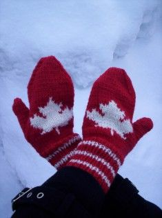Maple Leaf Mittens pattern by Cathy Payson Spirit of the North, cheer on our Canadian team FREE PATTERN Ravelry: Maple Leaf Mittens pattern by Michele C Meadows Knitted Mittens Pattern, Crochet Gloves, Knit Crochet, Knitted Hats, Free Crochet, Knitting Charts, Knitting Patterns Free, Free Knitting, Socks