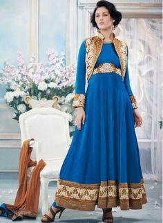 Latest Blue Chiffon With Dhupian Jacket Anarkali Suit