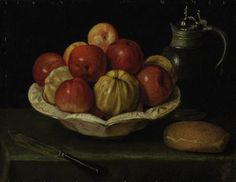 'Still life with apples in a ceramic bowl, bread, a knife and an earthenware jug' French school, century Still Life With Apples, Old Greek, French School, Ceramic Bowls, Earthenware, Serving Bowls, 19th Century, Ceramics, Classic