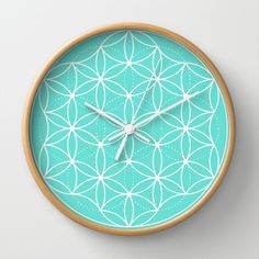 Light Blue Sacred Geometry Flower of Life Wall Clock