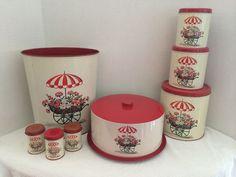 Retro 50's Era Decoware Red Kitchen Set, Umbrella With Flower Cart Pattern