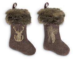 "Herringbone Stockings with Faux Fur (Set of Two) | Charleston Gardens 6""W x 9.5""L"