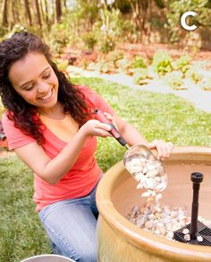 DIY Garden Fountain. Looking for a soothing addition to your outdoor retreat? Spring into action with this lovely fountain.