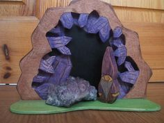 Etsy Transaction - waldorf inspired gnome 3D amethyst backround with a gnome