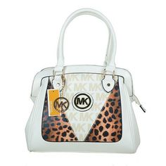 Michael Kors Logo Signature Leopard Large White Totes Outlet