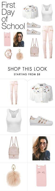 """First day back to school"" by nicolemk27 ❤ liked on Polyvore featuring Balmain, Moschino, adidas, MINKPINK, Furla, Charlotte Russe and Ted Baker"