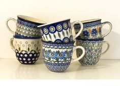 I collect the pottery of Bunzlau Castle. Some of these mugs were a birthday present from my grandmother, love the decors!