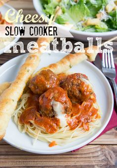 Cheesy Slow Cooker Meatballs with Twisted Garlic Breadsticks!