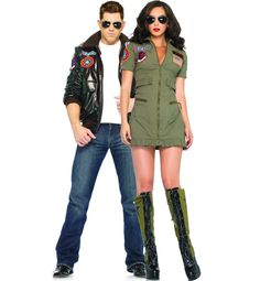 Top Gun Bomber Jacket and Womans Flight Suit (Bomber Jacket Chic) Couples Costume