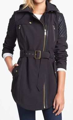 Love the leather details on this trench