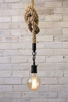 Anchor Rope Pendant Light with X large Edison light bulb Anchor Rope Pendelleuchte mit X großer Edis Edison Lighting, Industrial Lighting, Home Lighting, Pendant Lighting, Ceiling Pendant, Lighting Ideas, Edison Bulbs, Hallway Lighting, Lighting Cable