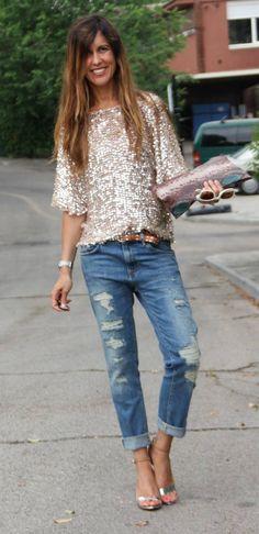 total look: boyfriend jeans sparkle shirt - want ALL