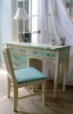 SOLD/French Country Desk/vanity and Chair by LeonasFrontPorch, $275.00