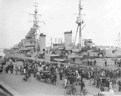 HMS Diadem in Copenhagen harbour May 1945