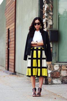Midi Skirt: Plaid Print and Statement Earrings