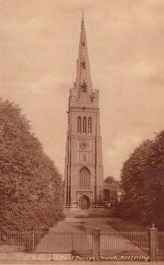 Northamptonshire, Kettering, St Peter and Paul Parish Church 1940's - photo courtesy of Jim Bundy
