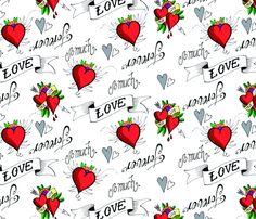 Tattoo Love fabric by hamburgerliebe on Spoonflower - custom fabric