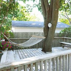 Build the deck around trees - perfect place for a hammock. Deck Around Trees, Tree Deck, Deck Design, Landscape Design, Garden Design, Wooden Terrace, Outdoor Living Rooms, Backyard Projects, Outdoor Projects