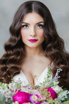 stunning long loose waves and perfect wedding makeup - LOVE! ~  we ❤ this! moncheribridals.com