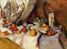 Still Life Post, Bottle, Cup and Fruit - Paul Cezanne, Post impressionism Claude Monet, Cezanne Still Life, Paul Cezanne Paintings, Cezanne Art, Still Life With Apples, Apple Art, Museum Of Modern Art, French Artists, Art Reproductions