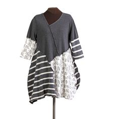 GRAYSPROINK gray and ivory striped upcycled tunic - secret lentil