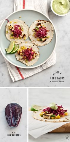 "Grilled Tofu Tacos and Avocado ""Cream"" #vegan #recipe"