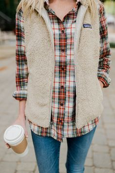 "Fashion style inspiration. Love the colors of this ""Slightly Fitted"" Scotch Plaid Shirt paired with AG go-to jeans, Sam Edeleman booties, and a Patagonia Los Gatos vest."