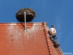 Storchenrad mit Storchennest vor blauem Himmel auf einer Kirche in Markt Burgheim in Oberbayern