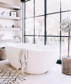 Large white modern tub // Bathroom decor