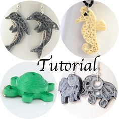 Tutorial for Paper Quilled Animal Jewelry PDF Dolphin Elephant Seahorse Turtle Earrings Pendant
