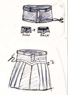 . denim skirts! DIY