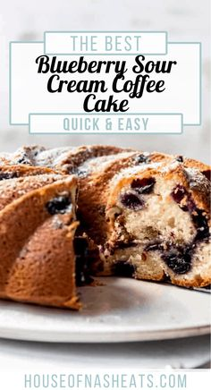 This moist Blueberry Sour Cream Coffee Cake is loaded with sweet blueberries, has a crumbly, cinnamon, streusel center, and is baked to perfection. All you need is a little dusting of powdered sugar for a wonderfully delicious breakfast, dessert, or afternoon treat! #blueberries #sourcream #coffeecake #bundtcake #bundt #best #dessert #fresh #frozen #cake #breakfast Quick Easy Desserts, Great Desserts, Best Dessert Recipes, Cupcake Recipes, Sweet Recipes, Delicious Desserts, Cupcake Cakes, Cupcakes, Pastry Recipes
