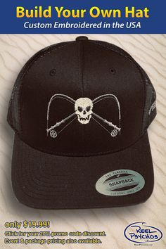 2134a82d14d8 Jolly Rodger fishing hat. I was able to choose my own styles and colors.  Embroidered by Reel Psychos. A great source for a custom fishing hats.