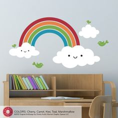 Our best-selling Happy Rainbow Wall Decal is a removable vinyl wall decal that brings joy and color to a baby nursery or children's room. The gloomy rain is gone and happy is here as these kawaii characte