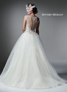 Gorgeous illusion back with beading! #bride #weddingdress #ballgown #sottero&midgley