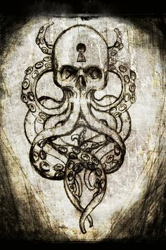 Cthulhu Skull canvas print by ShayneoftheDead on Etsy, one day, on my forearm.like the dark mark but WAY COOLER in love with the idea Kunst Tattoos, Tattoo Drawings, Body Art Tattoos, Skull Tattoo Design, Skull Design, Tattoo Designs, Future Tattoos, Tattoos For Guys, Maritime Tattoo
