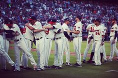 For a final time at Turner Field...VICTORY FORMATION! #TurnerFieldFarewell