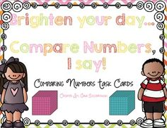 36 task cards for comparing numbers- 2 digit up to 4 digit, standard, expanded, and picture form $