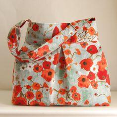 Bunch of Poppies Fabric Pleated Hobo Handbag