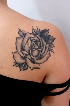 Healed traditional rose in black and grey by Carlos  #tattoo #rosetattoo #traditionaltattoo