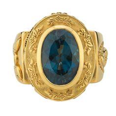 Aleluya 4.50 Carat Dark Blue Topaz Sapphire Gold Ring