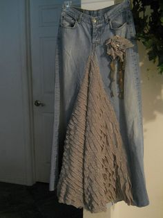 Items similar to Belle Époque ruffled jean skirt sparkly grey mauve taupe bohemian mermaid beach wedding Renaissance Denim Couture Made to Order on Etsy Satin Tulle, Purple Satin, Dark Purple, Couture, Denim Vintage, Bohemian Beach Wedding, Denim Ideas, Denim And Lace, Lace Ruffle