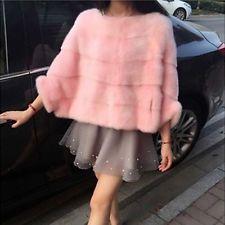 Femmes lady warm faux mink fur coat veste fourrure poncho manteau cape outwear hiver