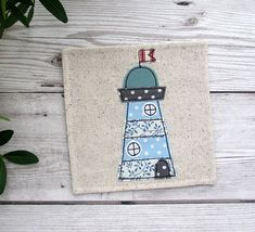 Finding Beautiful Coastal Bedding For Your Home – Coastal Decor Advanced Embroidery, Free Motion Embroidery, Free Machine Embroidery, Etsy Handmade, Handmade Gifts, Fabric Coasters, Sewing Cards, Fabric Cards, Seaside Decor