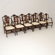 12 Antique Mahogany Shield Back Dining Chairs - Antiques Atlas