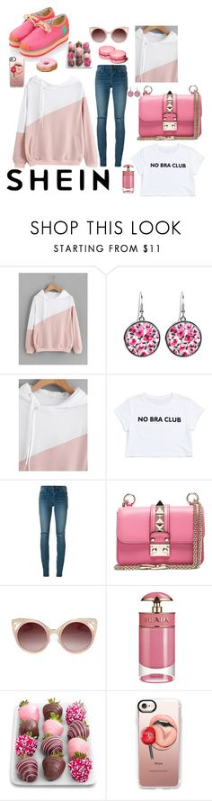 """She is a pink rocker"" by karito-pinup ❤ liked on Polyvore featuring Yves Saint Laurent, Valentino, WithChic, Prada and Casetify"