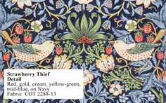 Historic Style - Strawberry Thief by William Morris William Morris Wallpaper, William Morris Art, Morris Wallpapers, Fiorelli, Navy Fabric, English Artists, Art Deco Period, Arts And Crafts Movement, Spring Trends