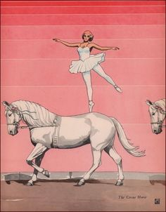 CIRCUS HORSE, Ballet Rider, Rosinback, by James Cannon, vintage print 1938 #Vintage