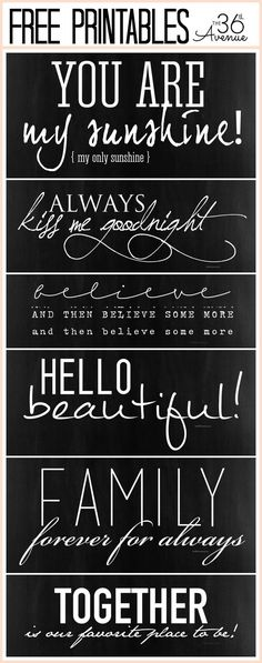 Free Fonts and Free Quote Printables at http://the36thavenue.com